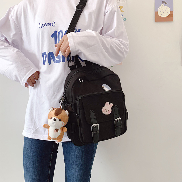 Korean Style Canvas Small Mini Backpack For Women Fashion Travel Backpack Leisure School Bag Tote For Tennage Girl Shoulder Bag 2