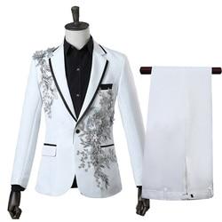 Fashion Party Wedding Ball Focus Casual 2 Piece Set Suit Set (Coat+Pant) Hot Trendy Mens Multicolor Bilateral Inlay Flower Suit