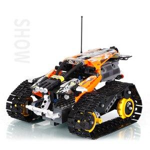Image 4 - تكنيك RC تتبع حيلة متسابق اللبنات صالح Legoing الخالق 42095 APP التحكم عن بعد سيارة الطوب اللعب الهدايا للأطفال