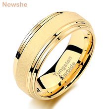 Newshe Yellow Gold Color Tungsten Carbide Men's Wedding Rings 8mm Frosted Band Ladder Edge Fashion Jewelry TRX073