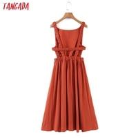 Tangada Women Solid Color Backless Beach Midi Dress Strap Sleeveless 2021 Fashion Lady Dresses Vestido 1M32 6