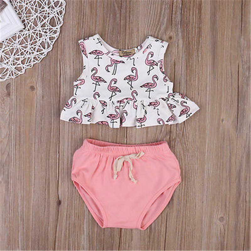 2020 Säuglings Kleidung Neugeborenen Set Kinder Baby Mädchen Kleidung Set Sleeveless Flamingo Top T-shirt + Dreieck shorts Outfit