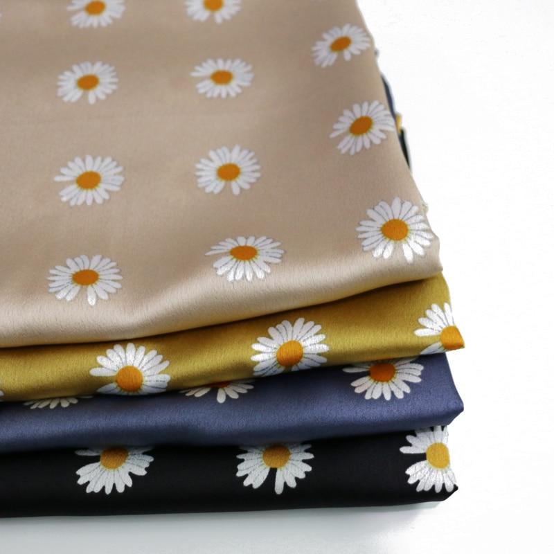 100 см * 150 см Цветочная атласная ткань для платья, мягкая ткань из крепа и полиэстера, шармёз