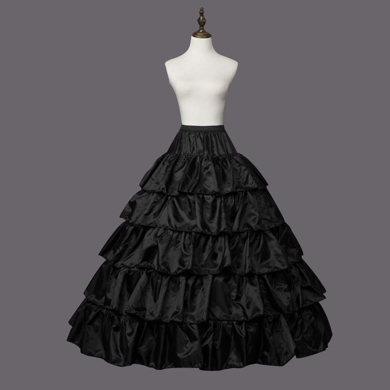 4 Hoops 5 Layers Ball Gown Petticoats Black Petticoat Crinoline Underskirt Big Ruffle Wedding Accessories Tulle Underskirts