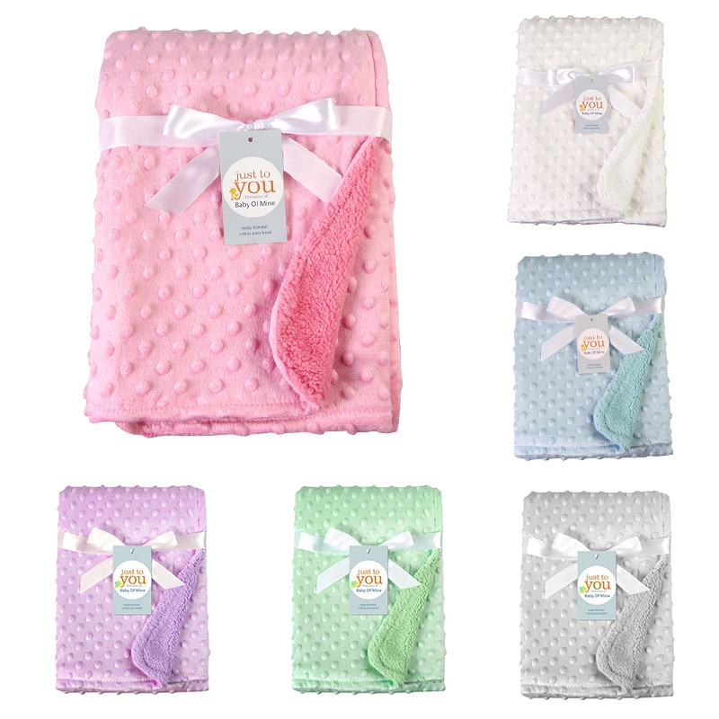 Newborn Baby Blankets Warm Fleece Thermal Stroller Sleep Cover Solid Infant Bedding Wrap Kids Bath Towel