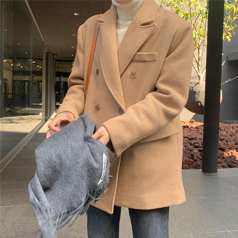HziriP Chic All Match Fashion Brief New Women 2019 Office Lady Warm Solid Streetwear Vintage OL Loose Wool Large Size Blazers