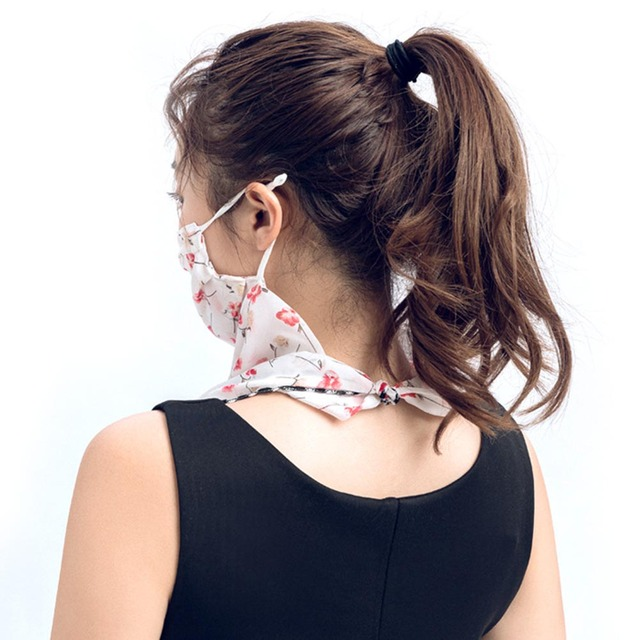 Rose Flower Women Summer Chiffon Anti-UV Thin Scarf Neck Face Cover Shawl face-mask protection 3
