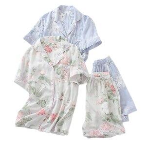Image 1 - Verão rayon shorts pijamas conjuntos feminino pijamas japonês fresco floral manga curta conjuntos de pijamas feminino