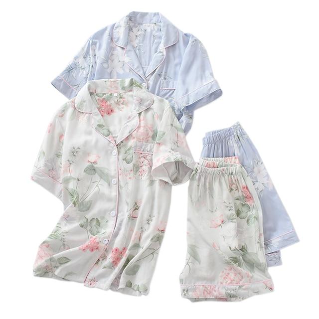 Verão rayon shorts pijamas conjuntos feminino pijamas japonês fresco floral manga curta conjuntos de pijamas feminino
