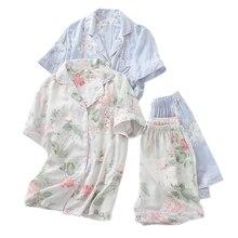 Été rayonne shorts pyjamas ensembles femmes vêtements de nuit japonais frais Floral manches courtes pyjamas ensembles femmes
