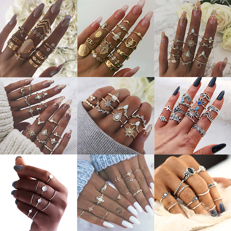 IF YOU Vintage Punk Crystal Knuckle New Rings Set For Women Finger Geometric Opal Midi Elegant Ring Party Accessories Jewelry