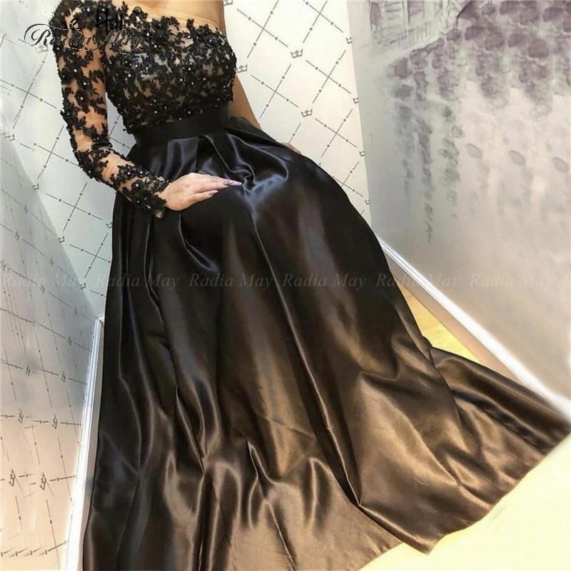 Elegant Black Satin Women Formal Evening Dress 2019 Custom Plus Size One Shoulder Sleeve Long Prom Dresses Lace Applique Beaded