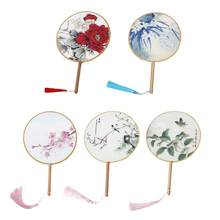 Chinese Flower Fan Traditional Round Tassel Antique Dance Party Silk Cloth Fan Selected Silk Fabrics with Good Colour(China)
