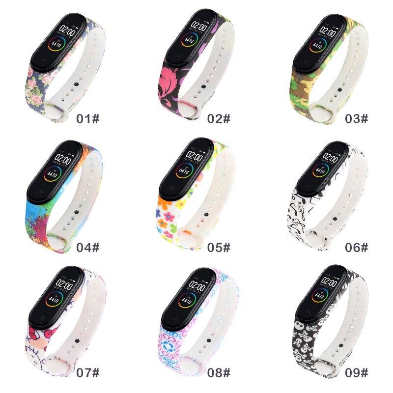 Mi Band 3 4 Strap Camouflage Silicone Universal Wrist Strap For Xiaomi Mi Band 4 3 Band4 Band3 Bracelet Cartoon Printing TPU