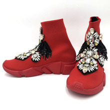 Luxury Rhinestones Sneakers Crystal Women Fashion Stretch Sock Boots Sport Knit Red Casual Shoes WK109