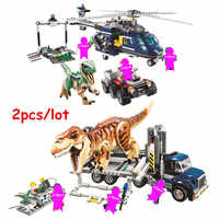 Jurassic World Park T. rex Transport Blue Helicopter Pursuit Building Blocks kits Classic Movie Model Kids Toys For Children Gif