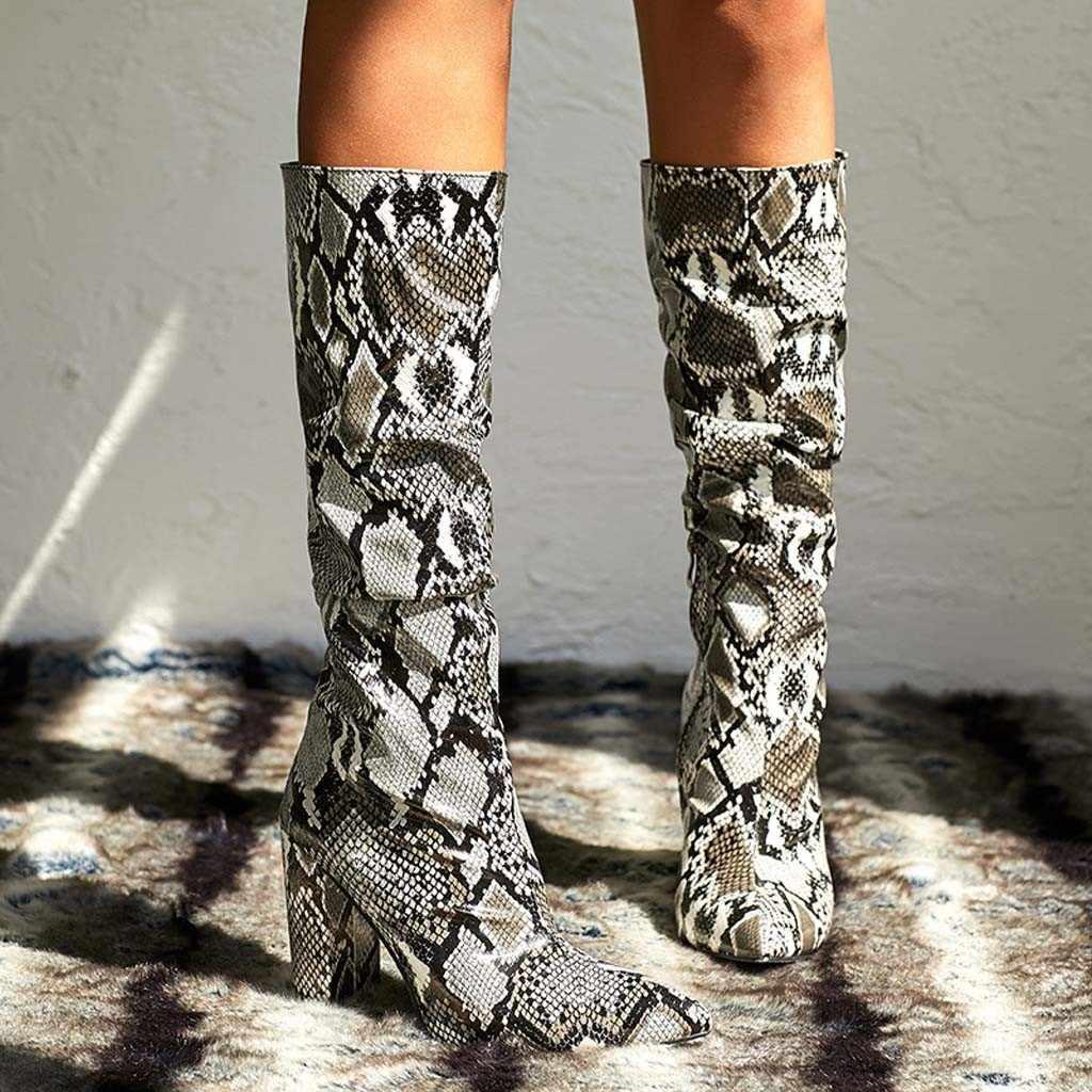 งูที่มีสีสันรองเท้าผู้หญิงรองเท้าส้นสูงหนารองเท้าชี้รองเท้า Zip Slouch บู๊ทส์รองเท้าผู้หญิงรองเท้าผู้หญิง zapatos de mujer