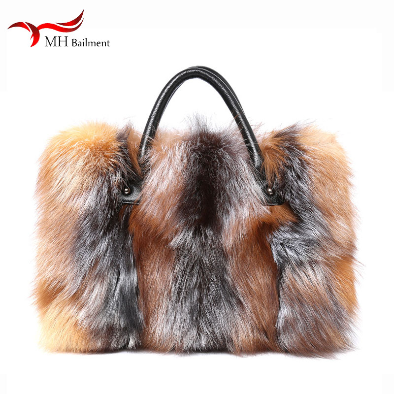 2019 Autumn Winter New 100% Fox Fur Bag Shoulder Diagonal Package Female Fashion Handbag Ladies Luxury Brand Furry Big Fur Bag
