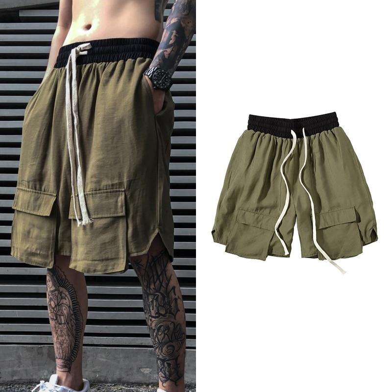 Streetwear Baggy Harem Short Pants Hip Hop Multi-pocket Knee Length Shorts Men Summer Loose Casual Cargo Shorts Youth All-match