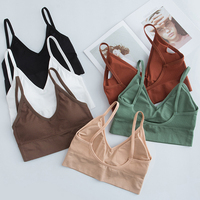 U-shaped Seamless Tube Top Bra Women Beauty Back Sling Strap Wrapped Chest Anti-light Ladies Sports Fitness Top Bra Lingerie