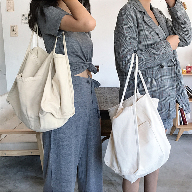 New Arrival Fashion Multicolor Canvas Grocery Tote Shopping Bags Canvas Solid Foldable Sac Folding Shopping Tote Bag