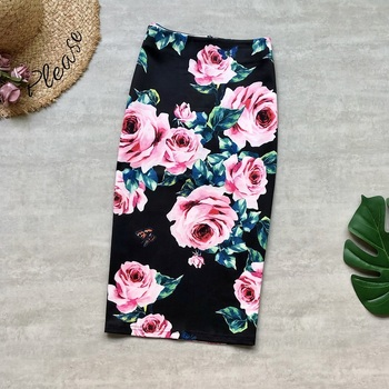 Womens Pencil Skirts Summer Romantic Floral High Waist Flower Printing Plus Size Large Stretch Bodycon Skater Elegant Fashion