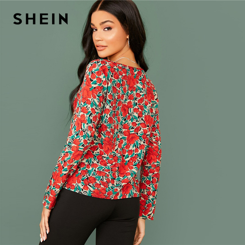 SHEIN Multicolor V Neck Floral Print Casual Blouse Women Tops 2020 Spring Streetwear Long Sleeve Elegant Ladies Basic Blouses 2