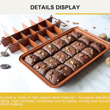 Non Stick Brownie Bread Pans With Dividers 18 Pre-slice Brownie Baking Tray Carbon Steel Bakeware for Oven Baking arancini maker