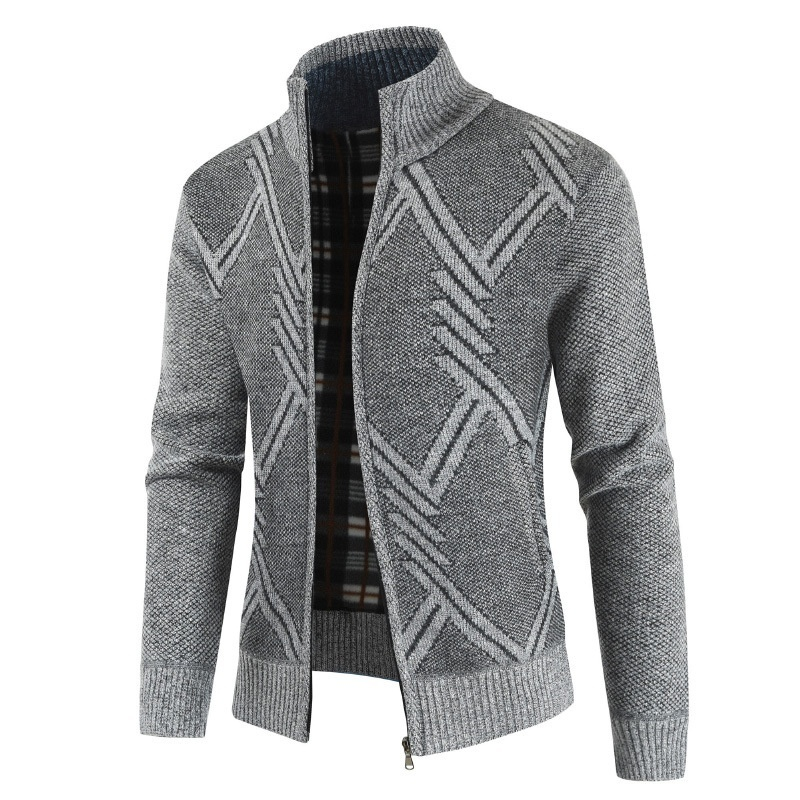Geometric Printed Man Cardigan Knitted Sweater Coat Autumn Winter Men clothing Solid Casual Jacket Cardigan Zip Sweater