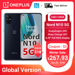 OnePlus Nord N10 5G Smartphone Global Version 6GB 128GB Snapdragon 690 90Hz Display 64MP Quad Cams Warp 30T NFC Mobile Phones