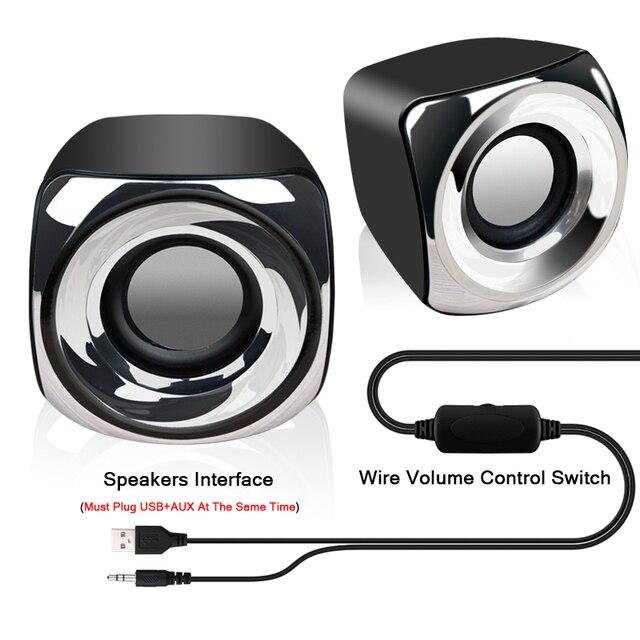 AUX Mini Computer Speakers USB Powered Wired 1 Pair Bass Stereo Speakers for Laptop Desktop Phone 2.5W*2 Powerful Loudspeaker 6