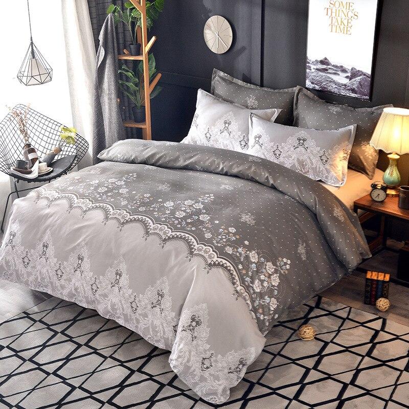 Flower Embroidered Comforter Bedding Set Queen King Duvet Cover Set Bed Set DA01#