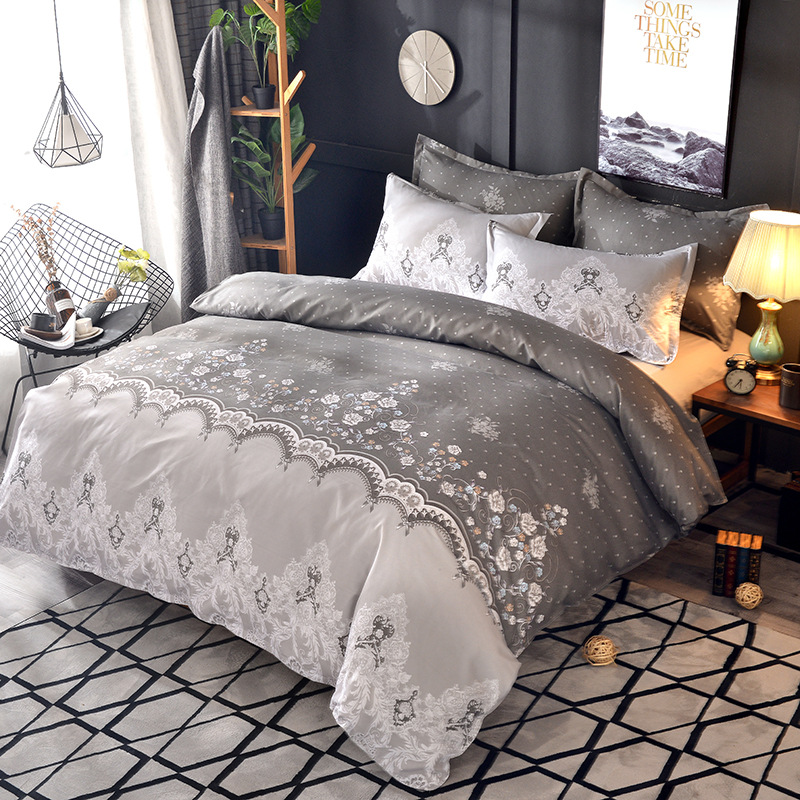 Flower Embroidered <font><b>Comforter</b></font> Bedding <fo