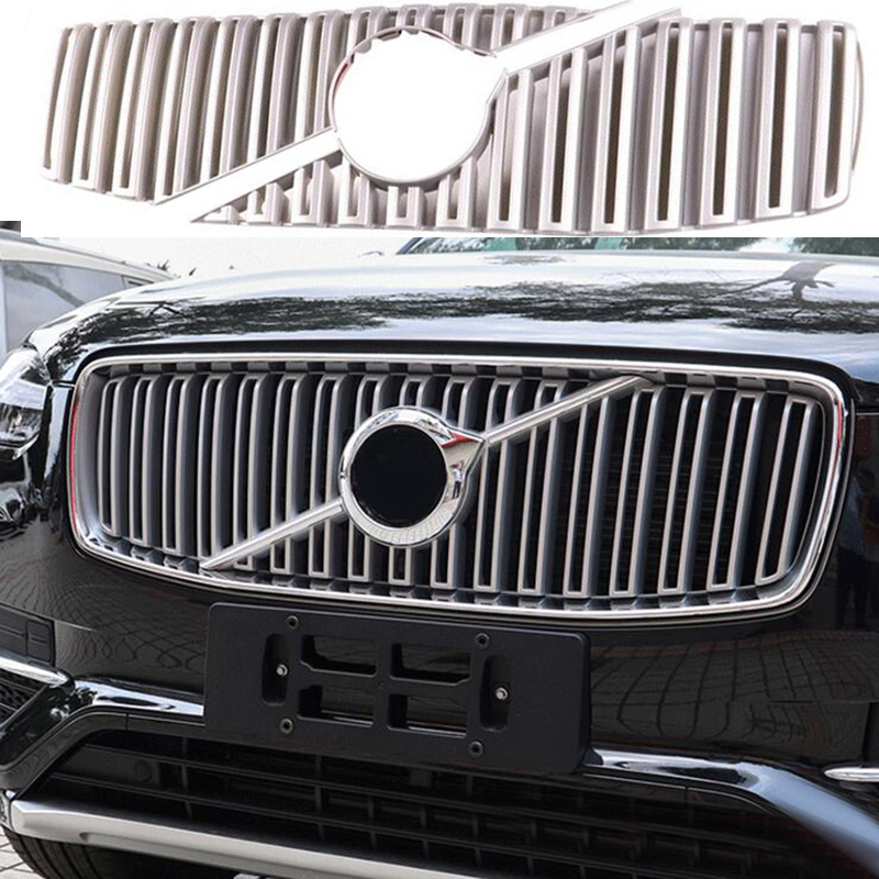 ABS Chrome Matte Car Front Bumper Grille Moulding Cover Trim Racing Grills For <font><b>VOLVO</b></font> <font><b>XC90</b></font> <font><b>2016</b></font> 2017 2018 <font><b>Accessories</b></font> Car Styling image