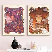 Peinture sur toile Wicca païen, Iris magique, botanique, Medusa, Dollmaker, affiche d'art, impressions murales, décor