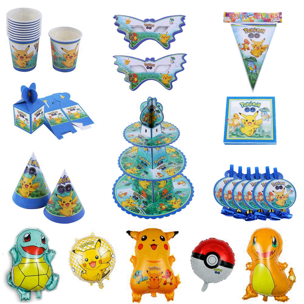 Pokemon Birthday Party Decoration Kids Paper Cup Plate Disposable Tableware Pikachu Mask Child Birthday Cake Baby Shower