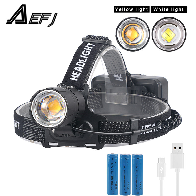LED Head Torch OMERIL USB Rechargeable Head Torches 4000mAh with Super Bright /&