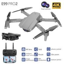 Новинка Радиоуправляемый вертолет E99 Pro 4K HD Двойная камера складной Дрон с Wi-Fi FPV 1080P передача в реальном времени 50 раз фокус Квадрокоптер