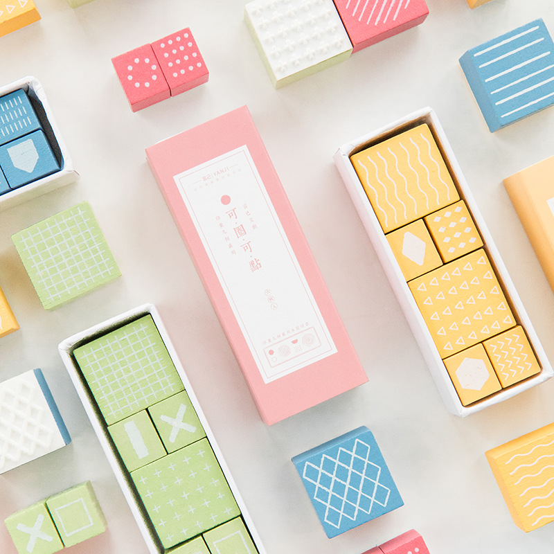 6 Pcs Color Basic Geometry Series Stamp DIY Craft Wooden Rubber Stamps For Scrapbooking Stationery Scrapbooking Standard Stamp