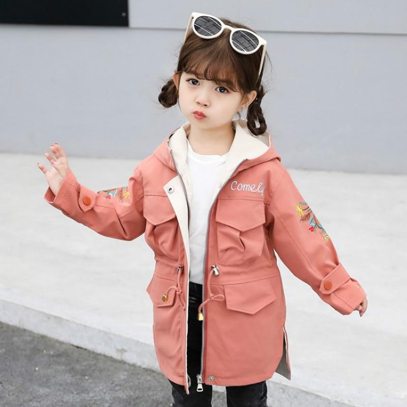Весенне осенние куртки для девочек подростков, модная детская куртка для девочек, ветровка с капюшоном для девочек, детская куртка, детский тренчкот Куртки и пальто    АлиЭкспресс