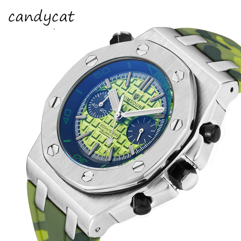 CandyCat Business Watch Men's Two Eyes Three Dial Clock Silicone Camouflage Strap Sports Waterproof Mechanical Quartz Watch