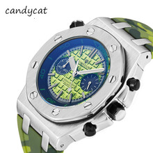 CandyCat Business Watch Men's Two Eyes Three Dial Clock Sili