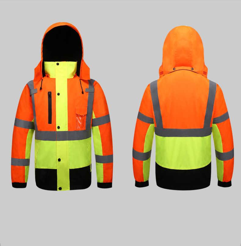 Herfst/Winter Reflecterende Kleding Hoge Zichtbaarheid Waterdicht Winddicht Bomber Jacket Veiligheid Werkkleding Kleding voor Wegverkeer