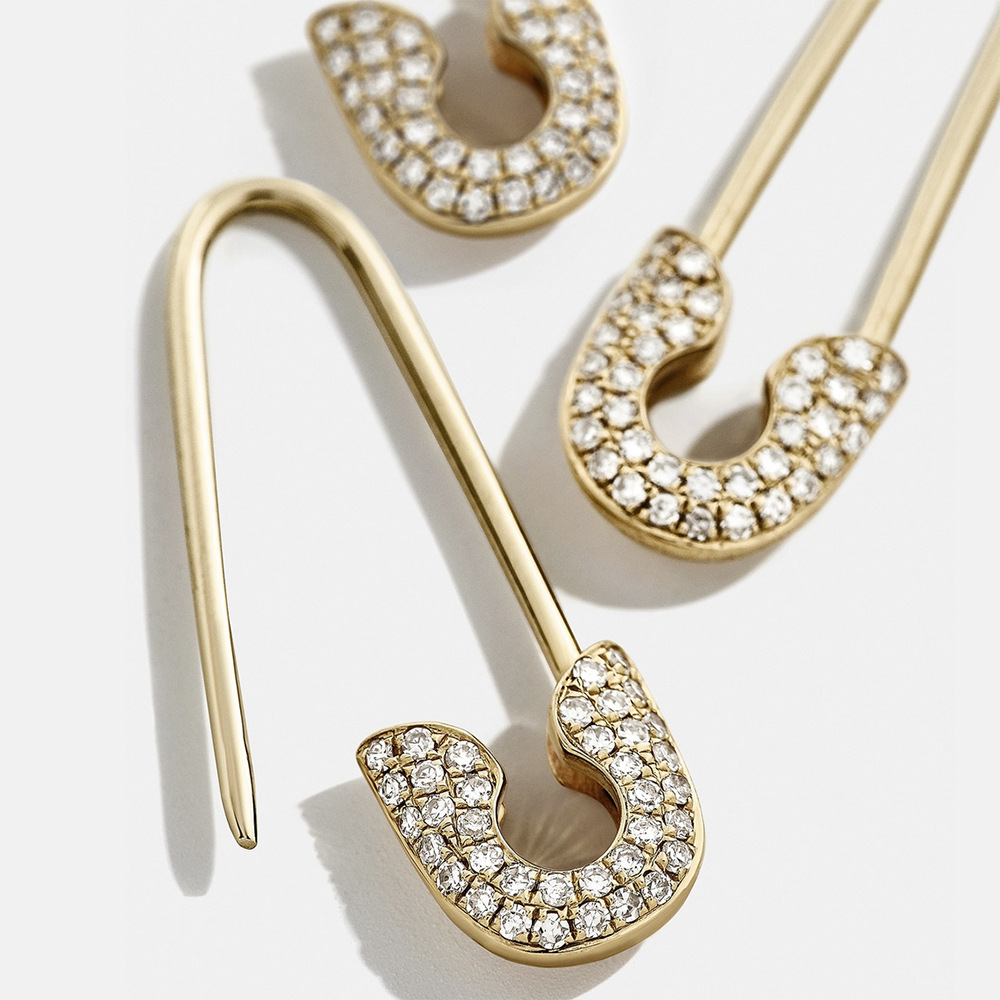 4pcs/Set Safety Pin Studs Earrings For Women Gothic Fashion White Crystal CZ Earrings Female Korean Jewelry Ear Cuff Accessories