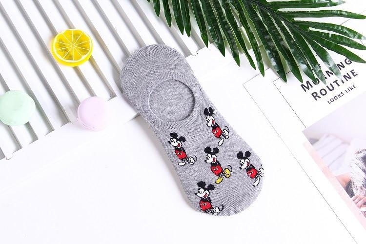 Disney Men's Boat Socks Fashion Cartoon Mickey Simple Shallow Mouth Socks Wild Invisible Socks 5
