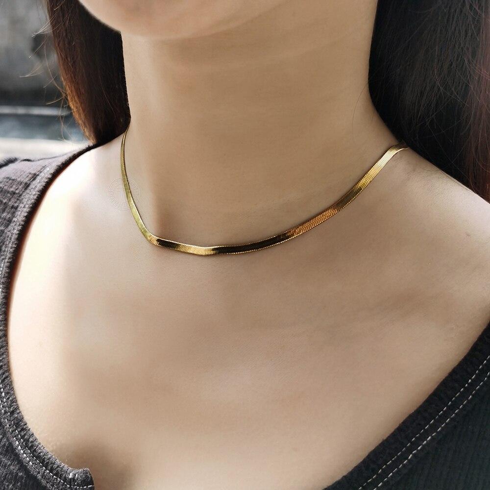 Aço inoxidável cobra corrente colar para mulher 3mm cor do ouro espinha de peixe gargantilha atacado festa de casamento jóias ldn223