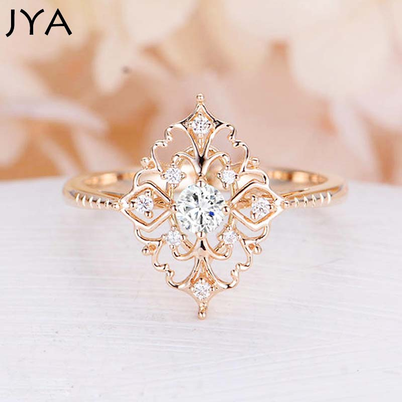 JYA Retro Women Rings Baroque Style Luxury Rose Golden Flower Shape Wedding Ring Statement Jewellery Vintage Diamante Accessory
