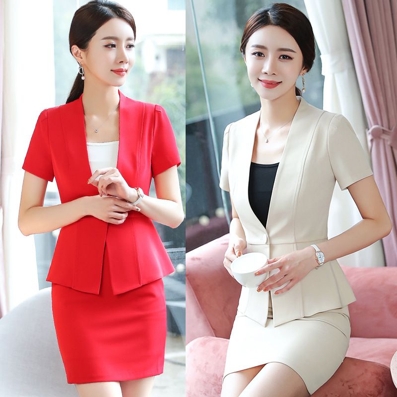 Short Sleeve Formal Elegant Uniform Styles Blazers Suits Two Piece with Tops and Skirt for Ladies Office Work Wear Blazer Sets