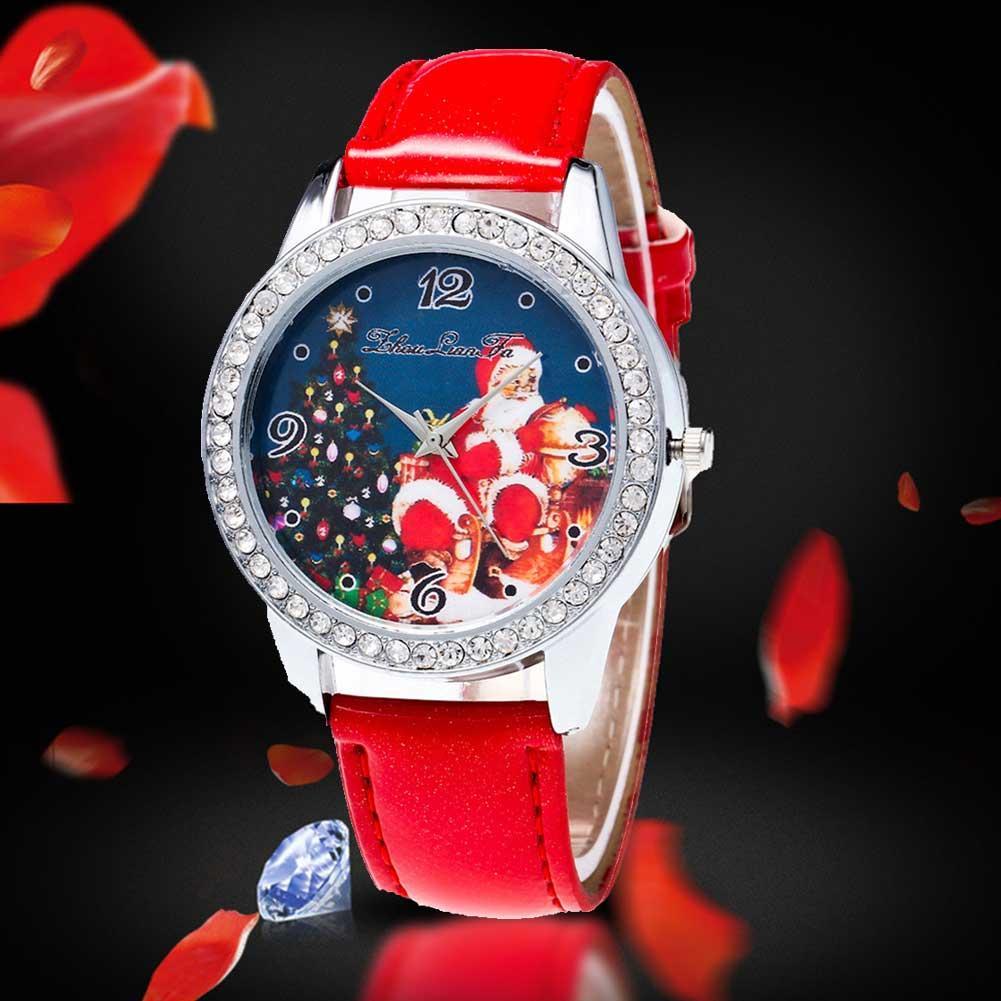 Couple Watch Santa Claus Rhinestone Faux Leather Band Round Women Men Quartz Wrist Watch Luxury Lover's Watches Christmas Gifts