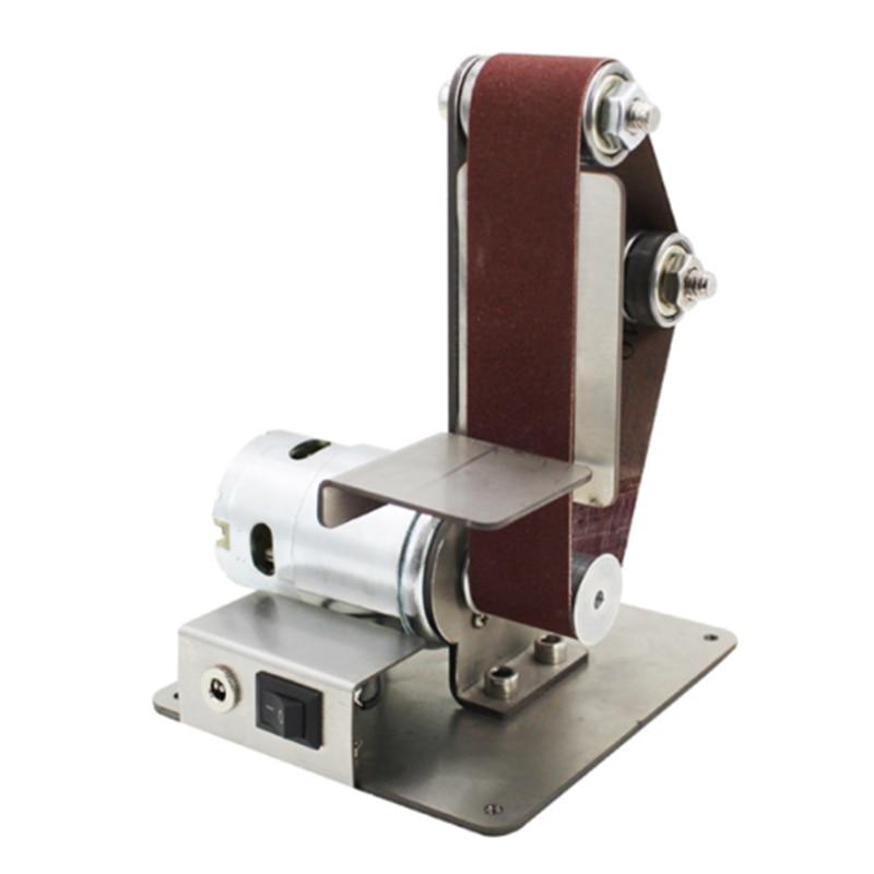 Mini DIY Belt Sander Sanding Grinding Machine Abrasive Belts Grinder Polishing Sandpaper Fixed Angle Machine Desktop Vertical